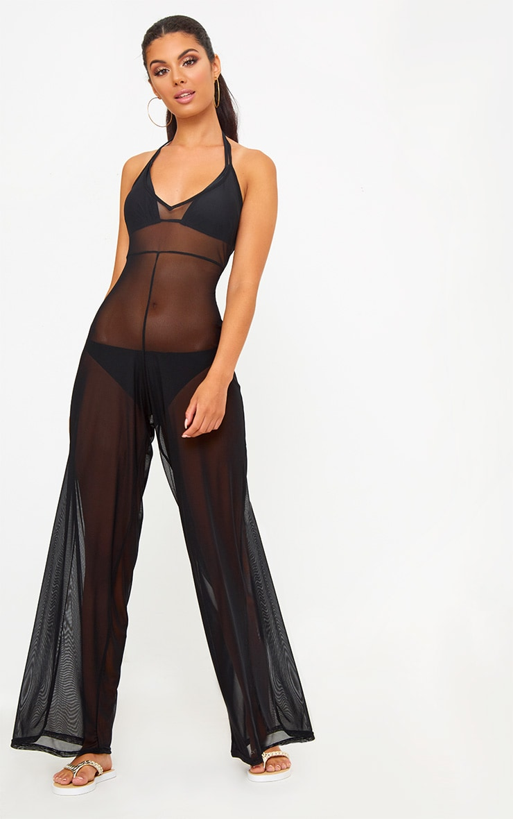 Black Mesh Ruched Jumpsuit 1