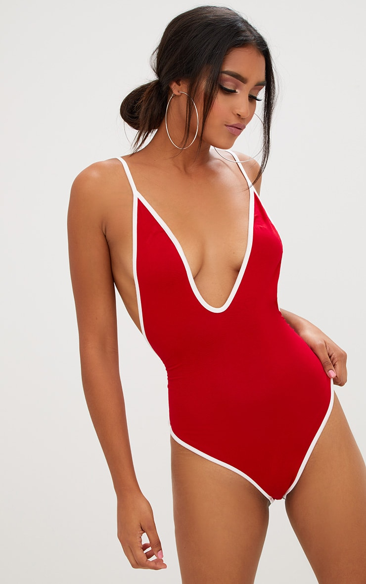 Basic Red Contrast Jersey Plunge Thong Bodysuit 2