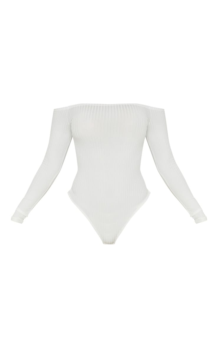 Cream Rib Bardot Long Sleeve Bodysuit 3