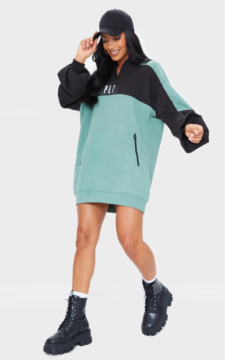 Washed Green  PRETTYLITTLETHING Double Zip Sweat Jumper Dress 1
