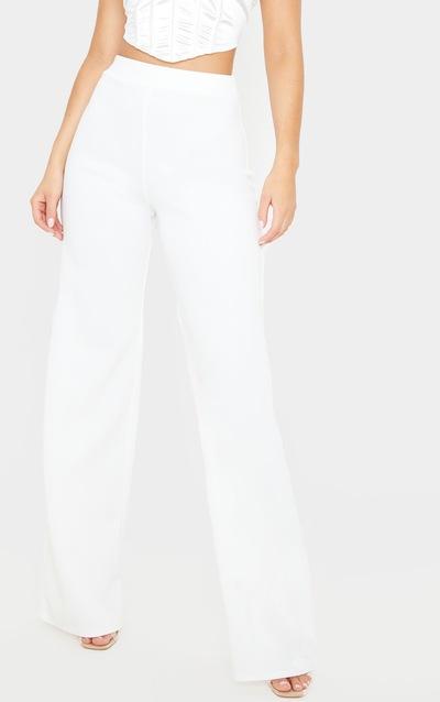 Cream Scuba Wide Leg Trouser