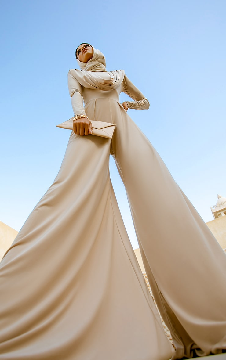Nude Slinky Drape Detail Pleated Wide Leg Jumpsuit 3