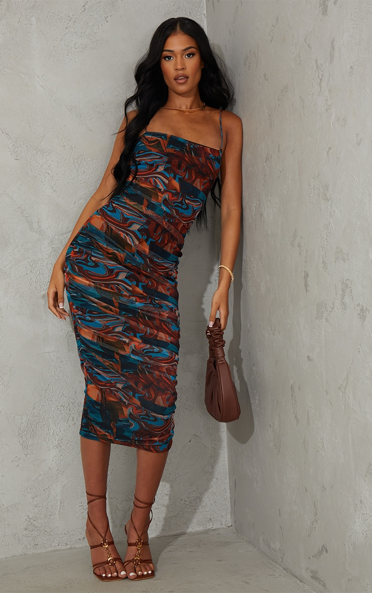 Tall Brown Marble Mesh Ruched Midi Dress 1