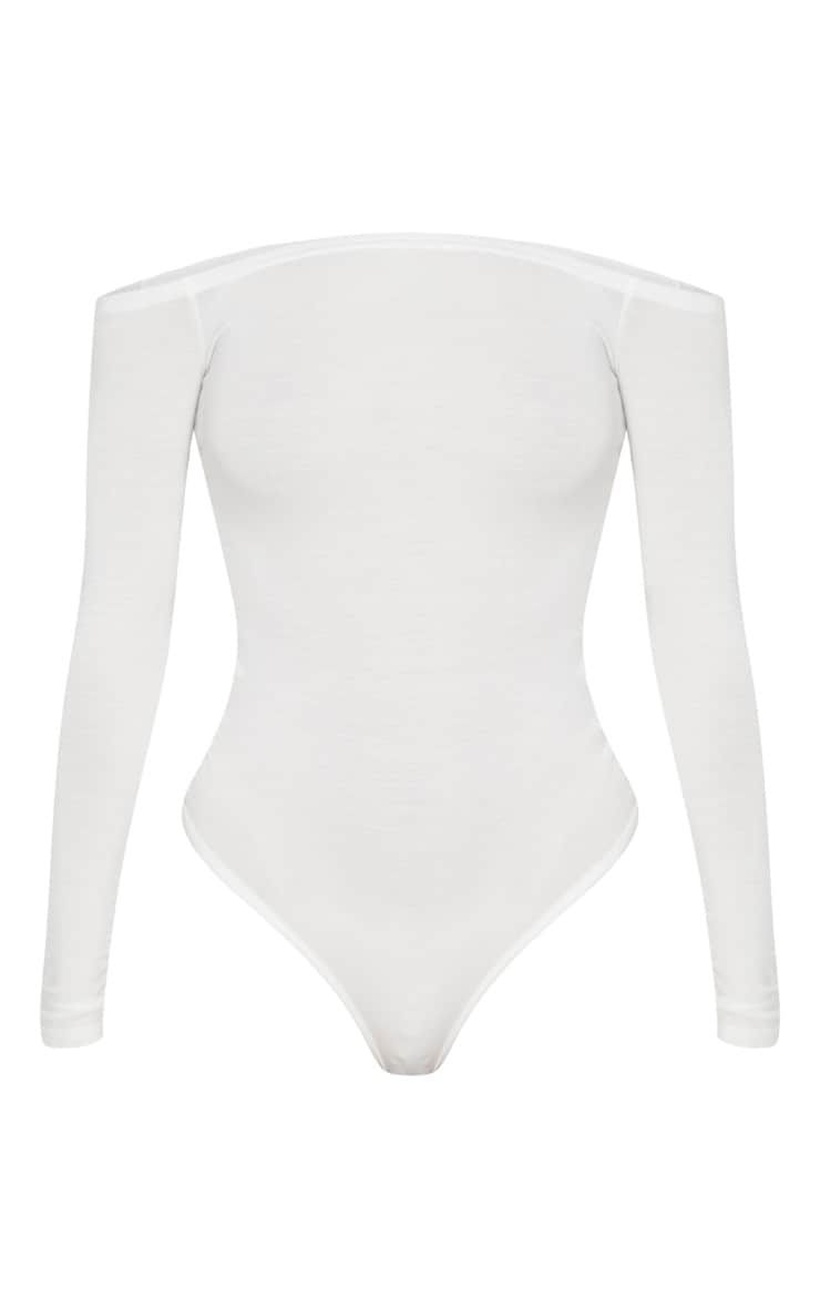 Basic Cream Bardot Bodysuit 3