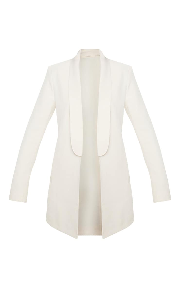 Cream Detail Oversized Woven Blazer 3