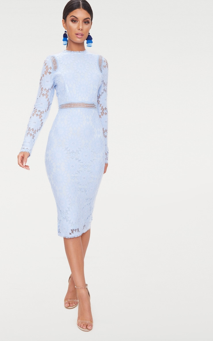 Dusty Blue Long Sleeve Lace Bodycon Dress 1