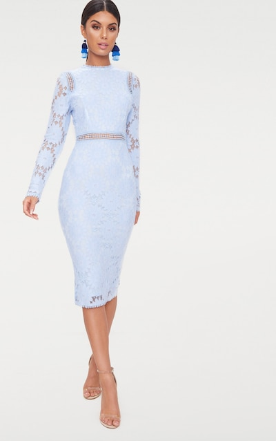 Dusty Blue Long Sleeve Lace Bodycon Dress