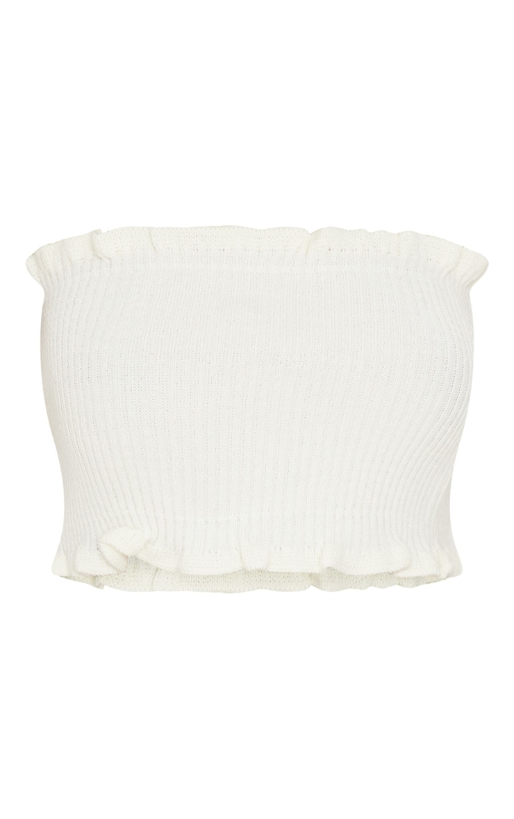 Cream Ruffle Detail Knit Tube Top 3