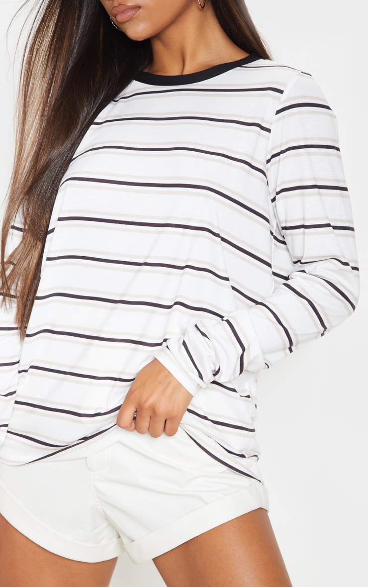 White Stripe Long Sleeve T Shirt 5