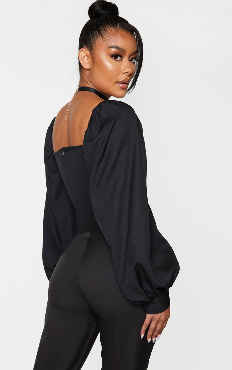 Black Woven Cut Out Front Boned Shirt 2