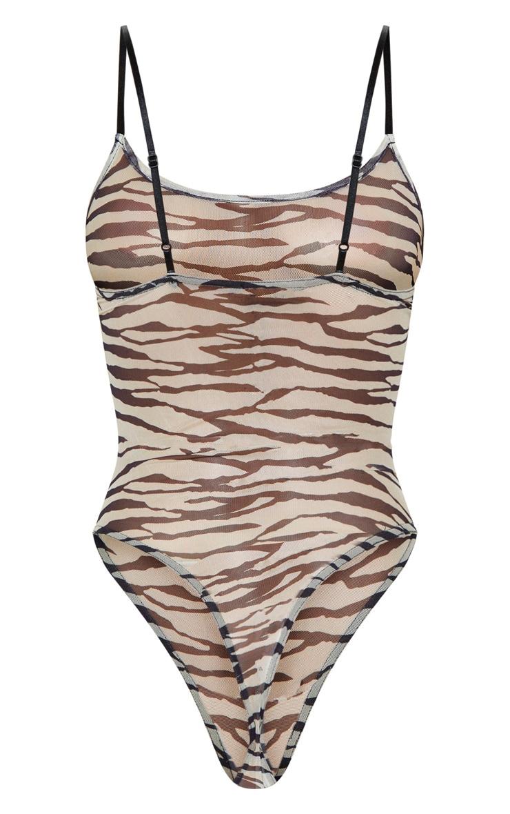 Nude Mesh Zebra Strappy Body 4