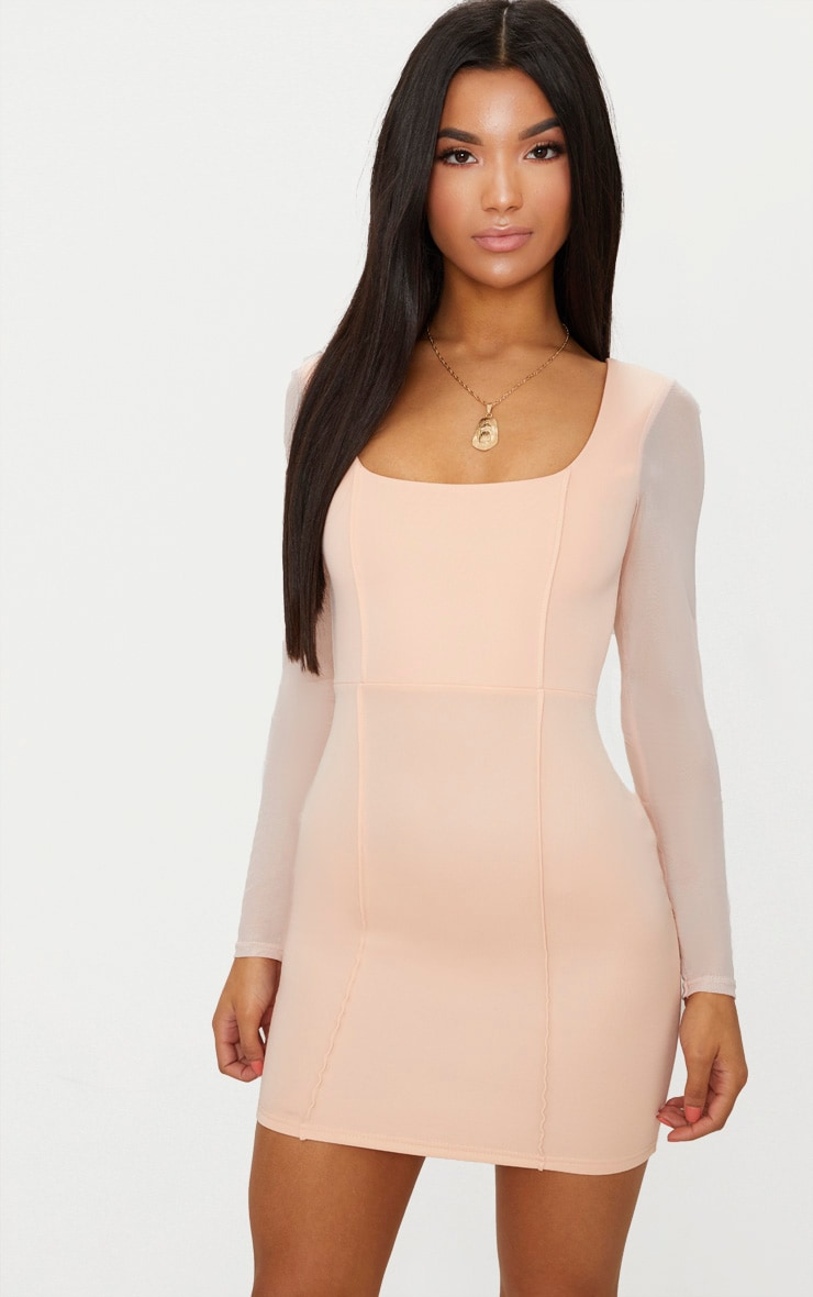 Nude Square Neck Mesh Sleeve Panelled Bodycon Dress