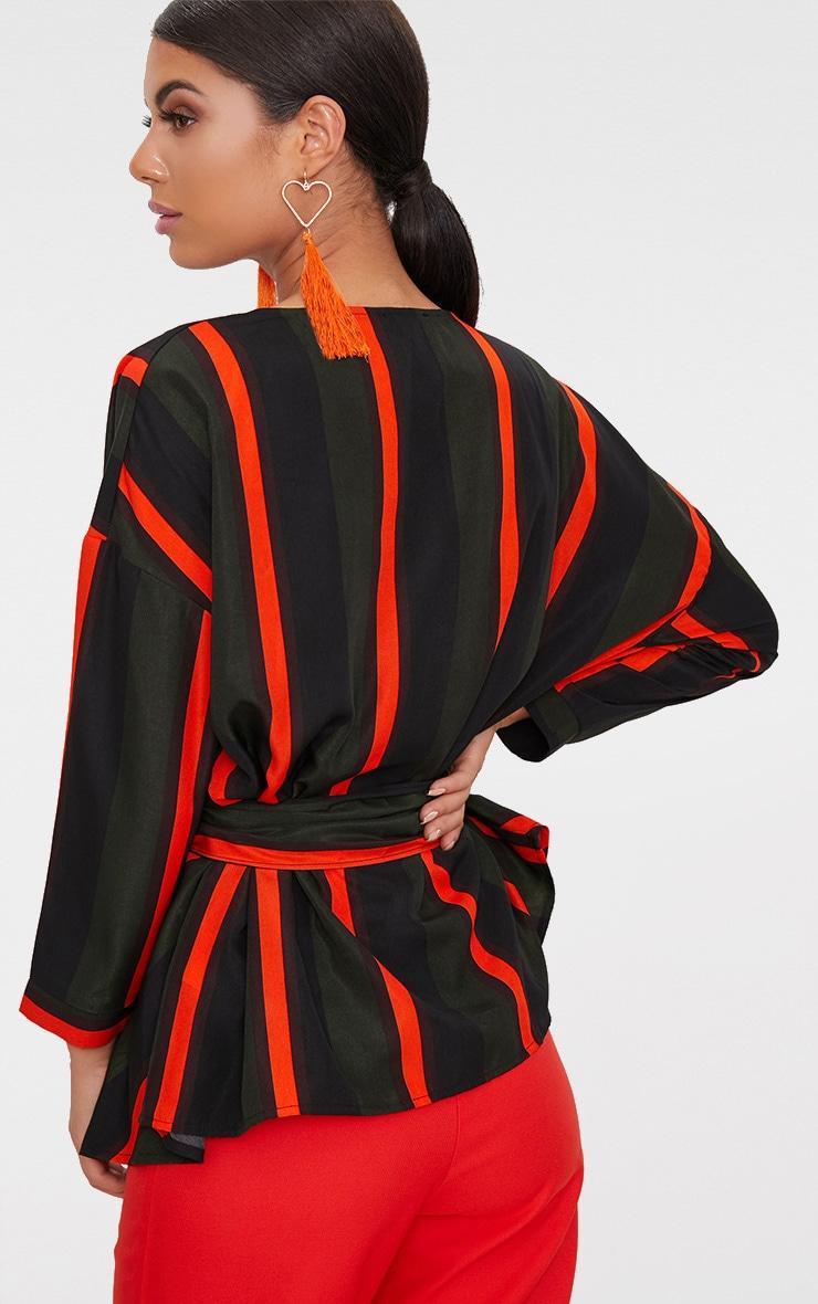Khaki Bold Stripe Tie Waist Blouse 2