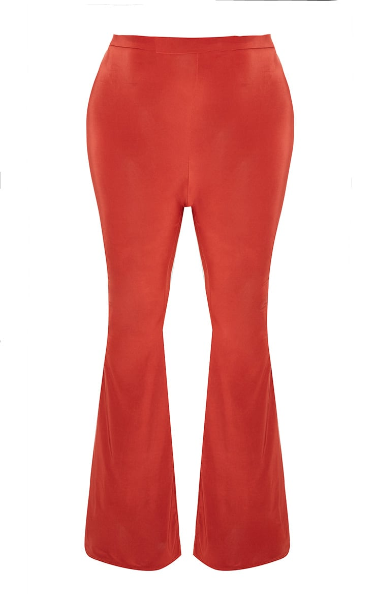 Plus Rust Slinky Flared Leg Trousers 3