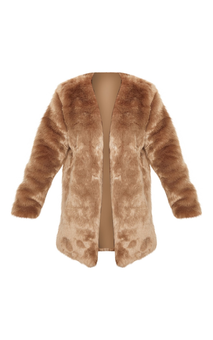 Brown Midi Faux Fur Coat  3