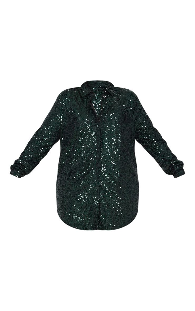 Plus Emerald Green Sequin Oversized Shirt 3