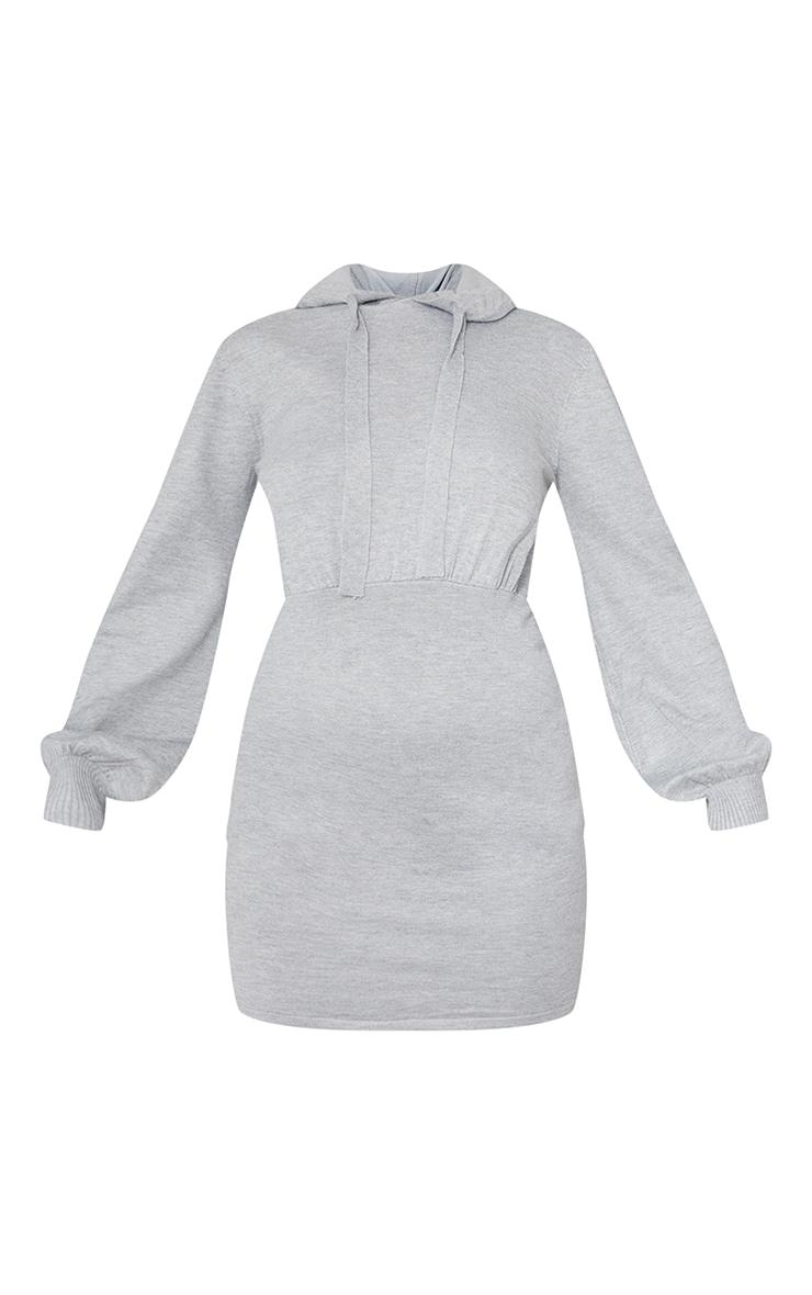 Mini robe en maille tricot grise à capuche 5