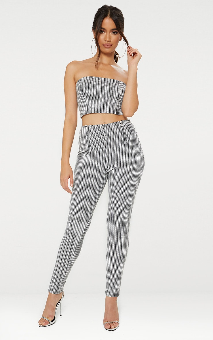 Black Dogtooth Double Zip Skinny Trousers  1