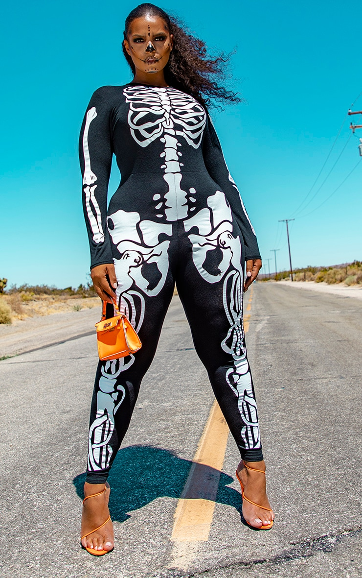 Plus Black Skeleton Print Long Sleeve Jumpsuit