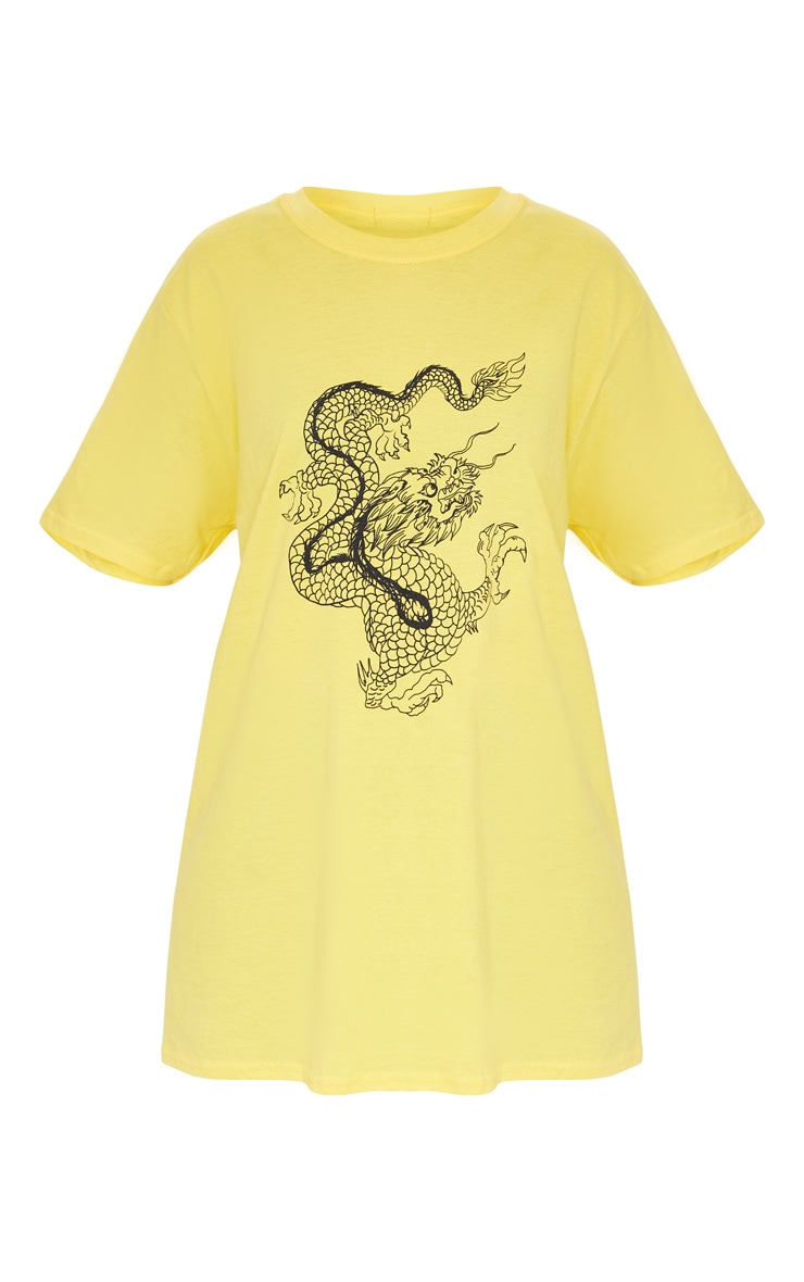 Yellow Contrast Dragon Print T Shirt 5