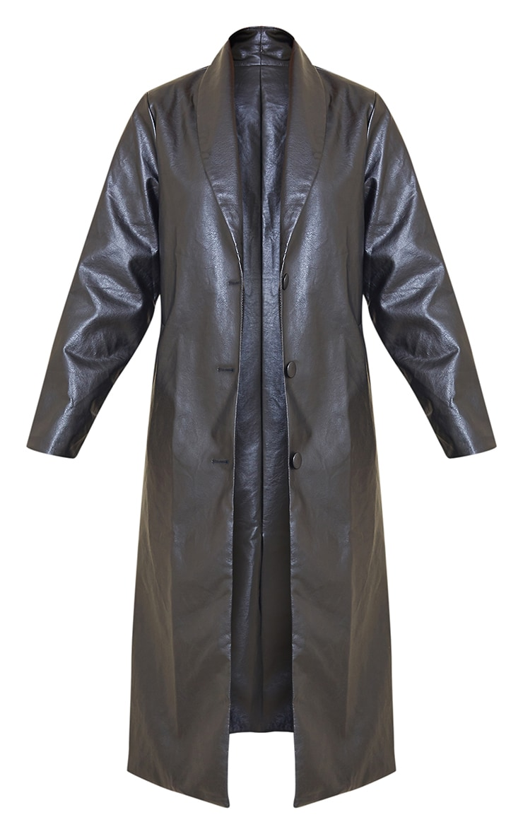 Black Faux Leather Curved Lapel Midi Trench Coat 5