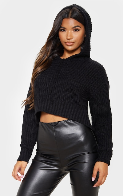 Black Knitted Cropped Hoodie
