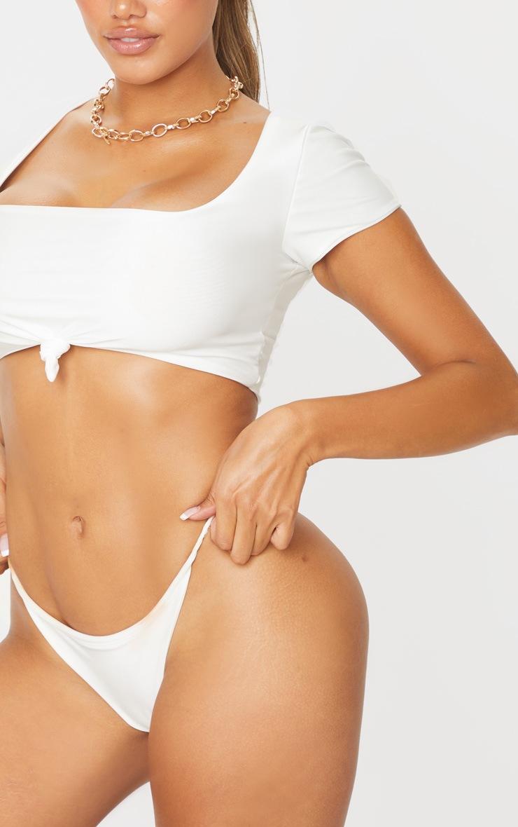 Shape White Tie Detail Scoop Neck Bikini Top 4
