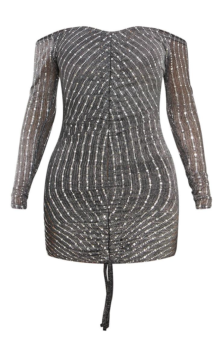 Black Glitter Mesh Ruched Bardot Bodycon Dress 5