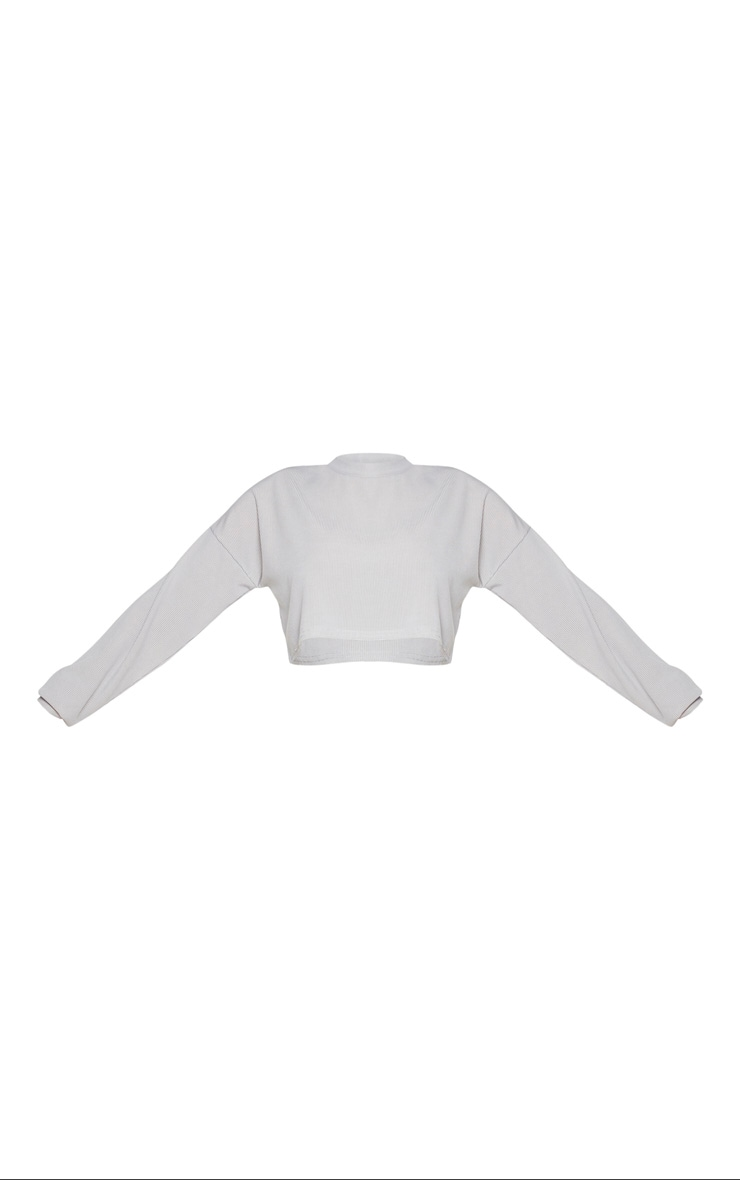 Shape Grey Marl Ribbed Long Sleeve Extreme Crop Top 5