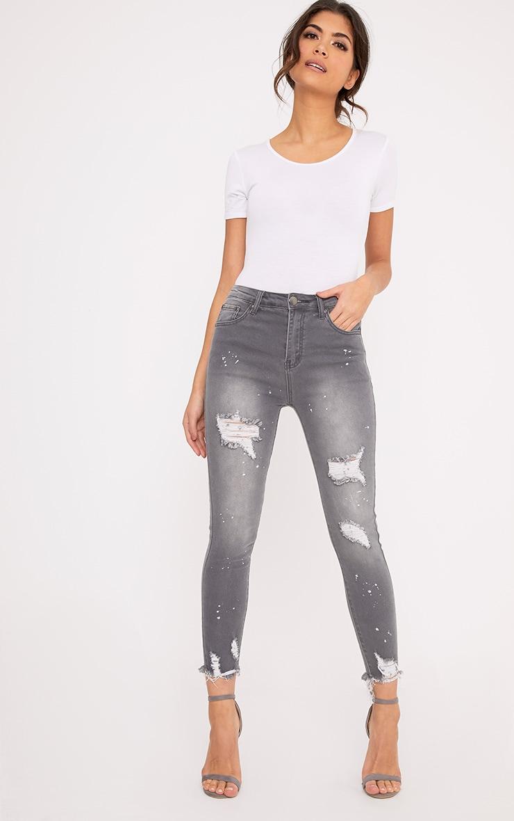 Grey Bleach Splatter Distress High Waisted Skinny Jean