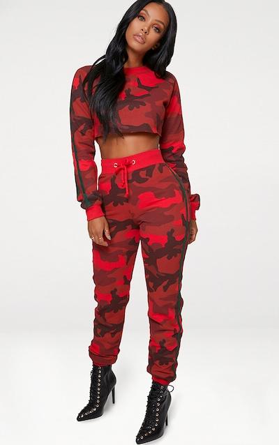 Shape Red Camo Side Stripe Joggers