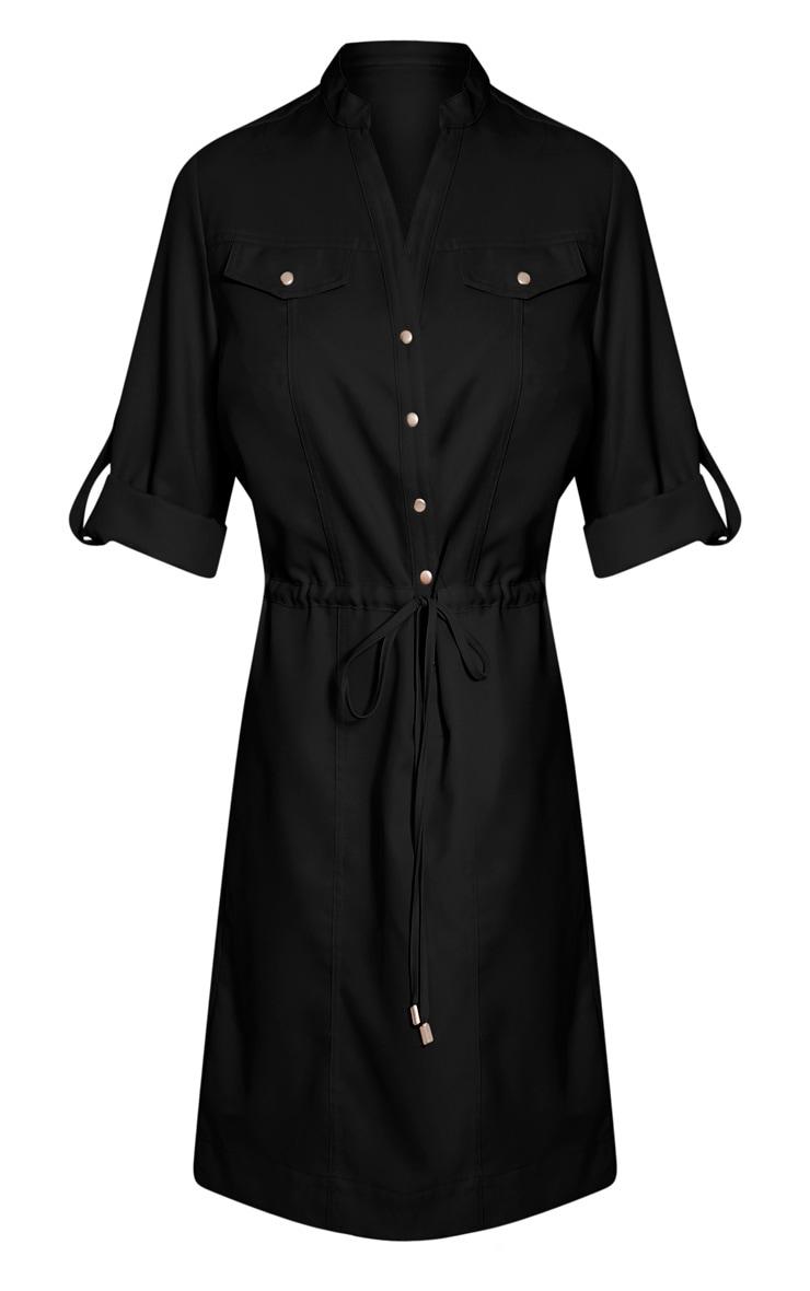 Teeya Black Collarless Shirt Dress 3