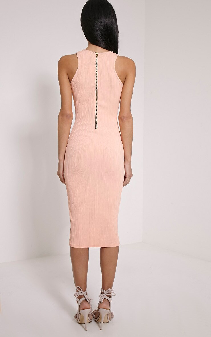 Jazmine Peach Ribbed Midi Dress 2