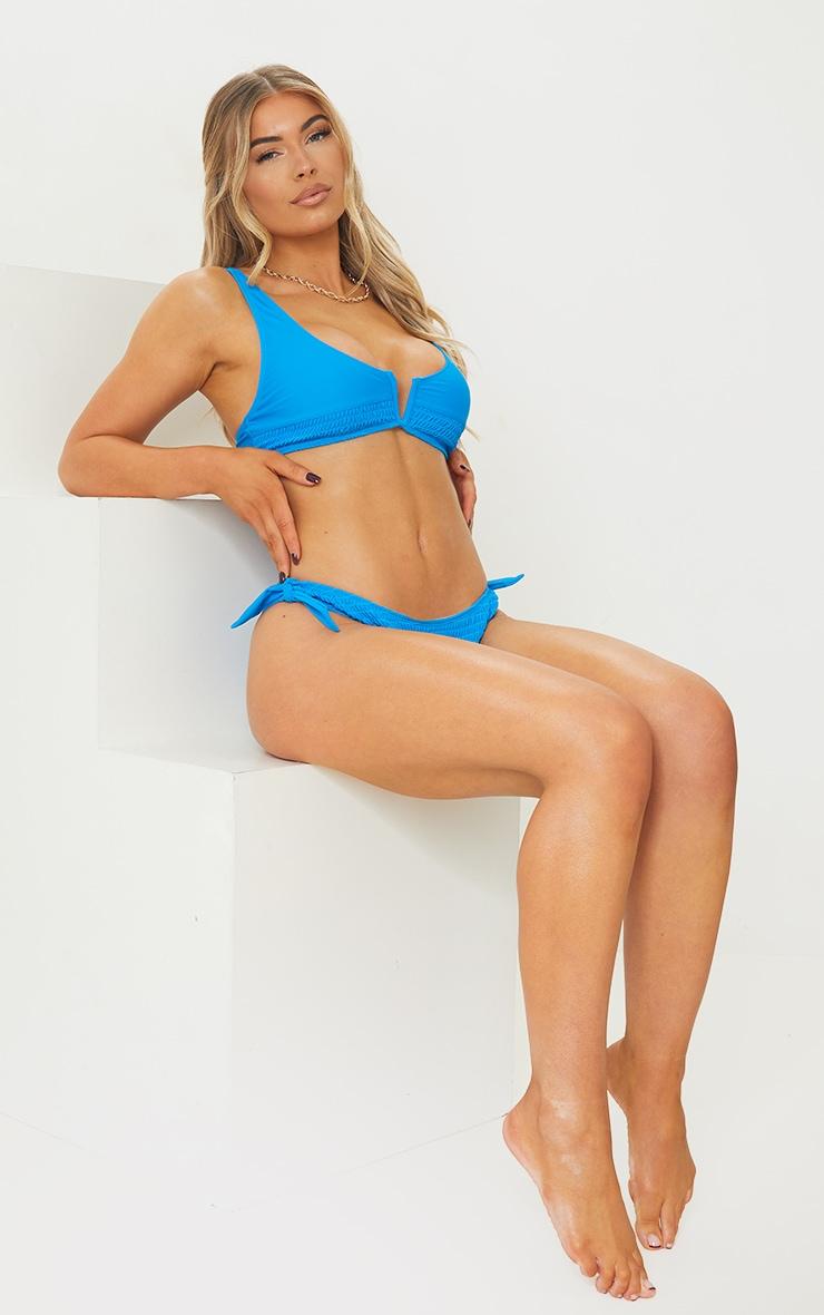Blue Smocked Tie Side Bikini Bottoms 3