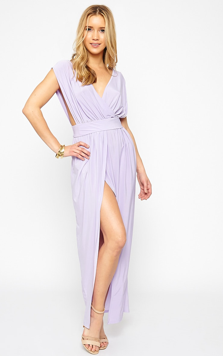 Marlisa Lilac Slinky Plunge Maxi Dress 4