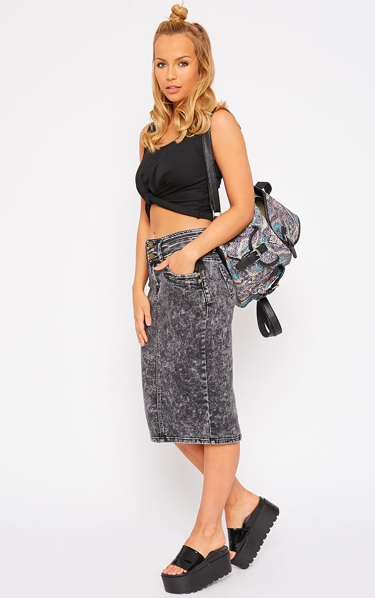 Edie Grey Acid Wash Denim Midi Skirt 1