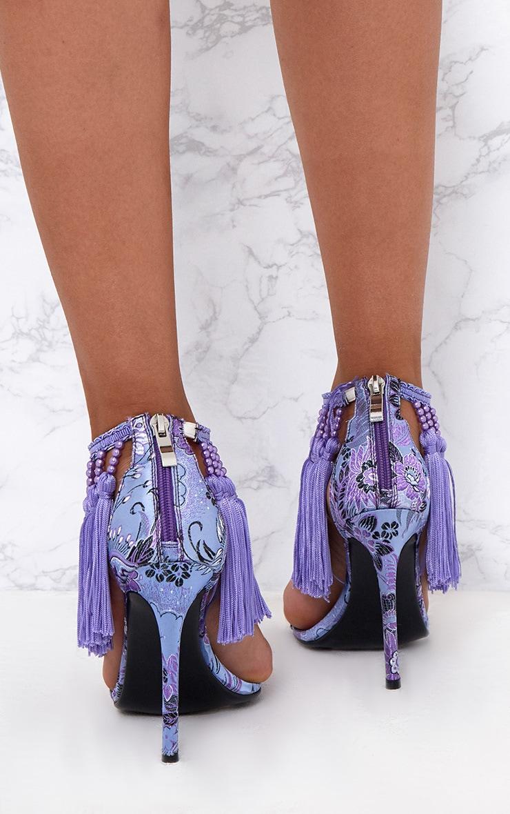 Purple Premium Tassel Embellished Heels 4