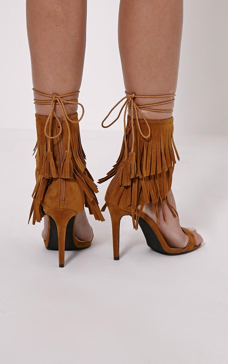 Haiden Tan Tassel Strap Sandals 2