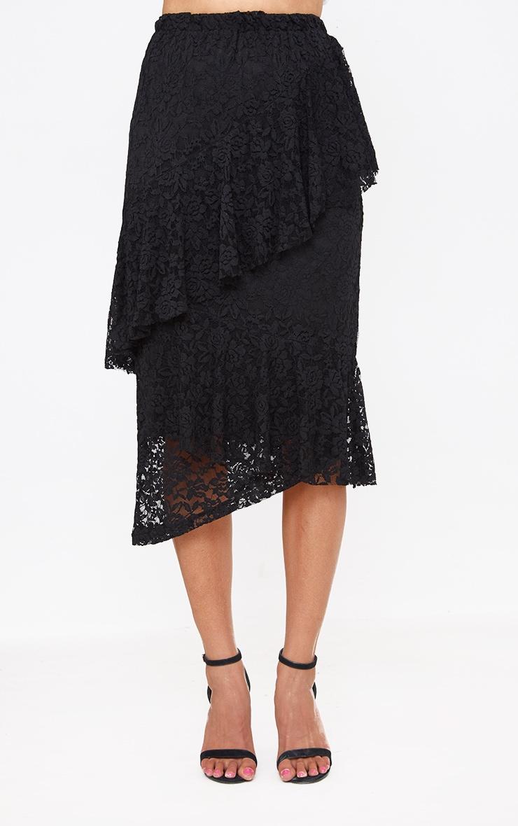 Black Asymmetric Long Line Lace Midi Skirt 2