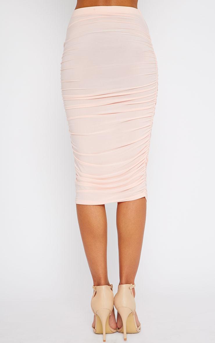 Saylor Pink Slinky Gathered Midi Skirt 4