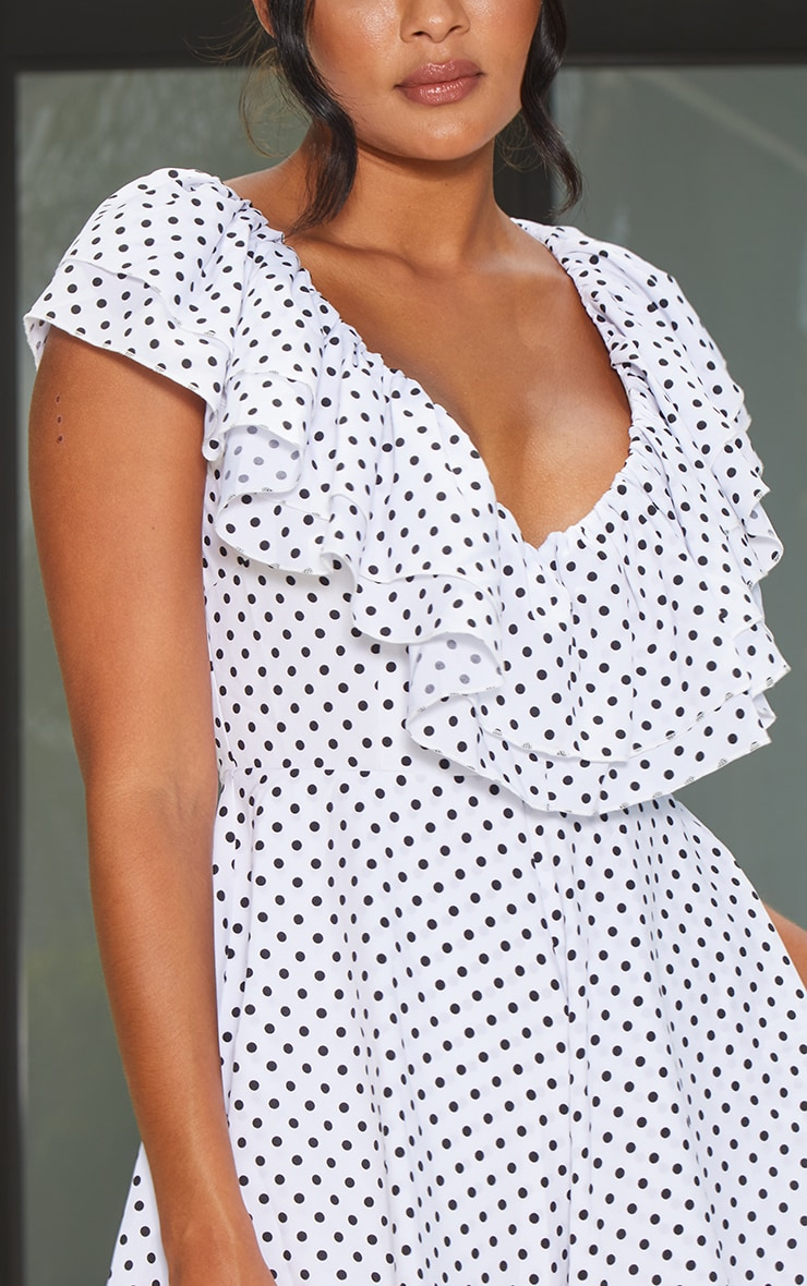 White Polka Dot Frill Plunge Playsuit 4