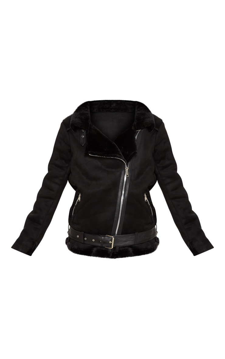 Black Faux Suede Aviator Jacket 3