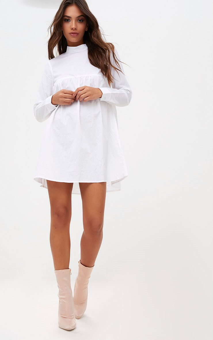 White Cotton Poplin High Neck Smock Dress 4