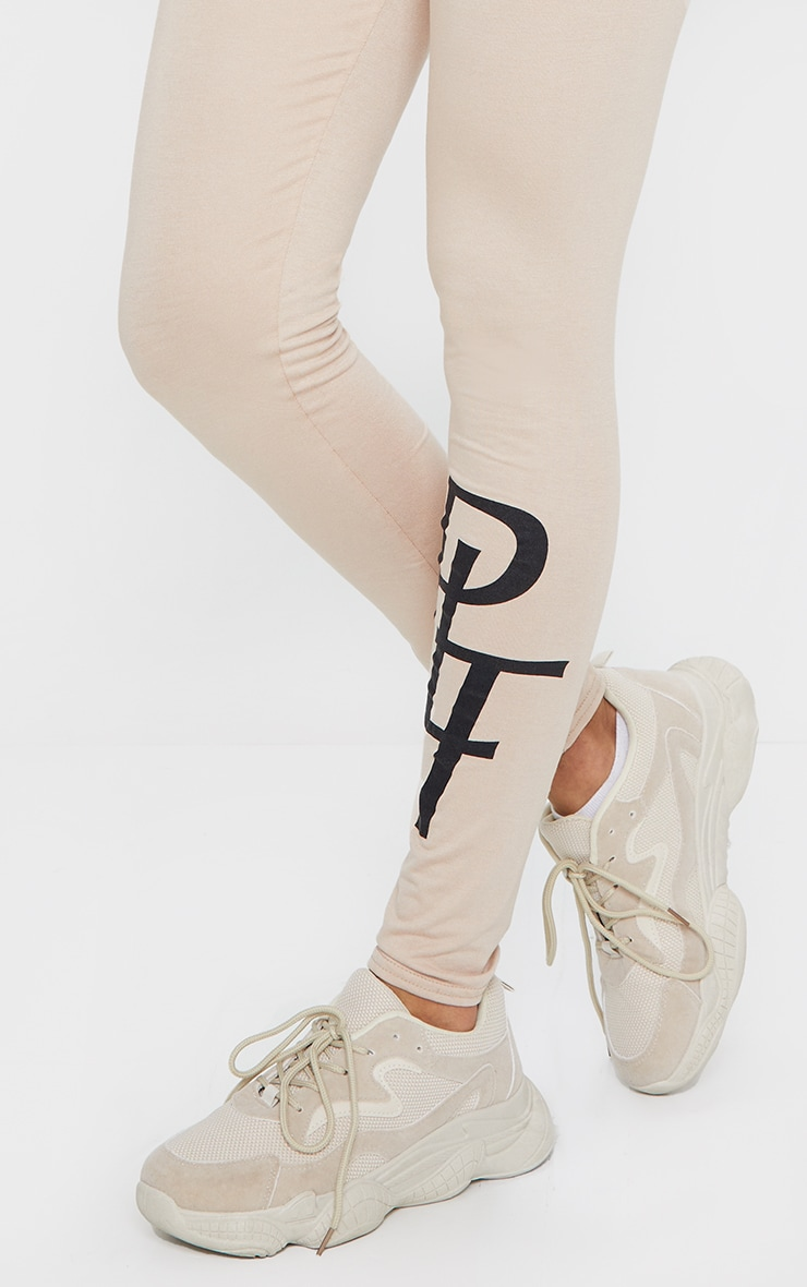 PRETTYLITTLETHING Stone Slogan Leggings 4