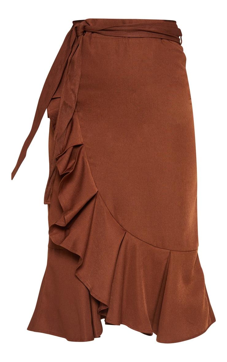 Petite Chocolate Brown Woven Frill Detail Midi Skirt 3