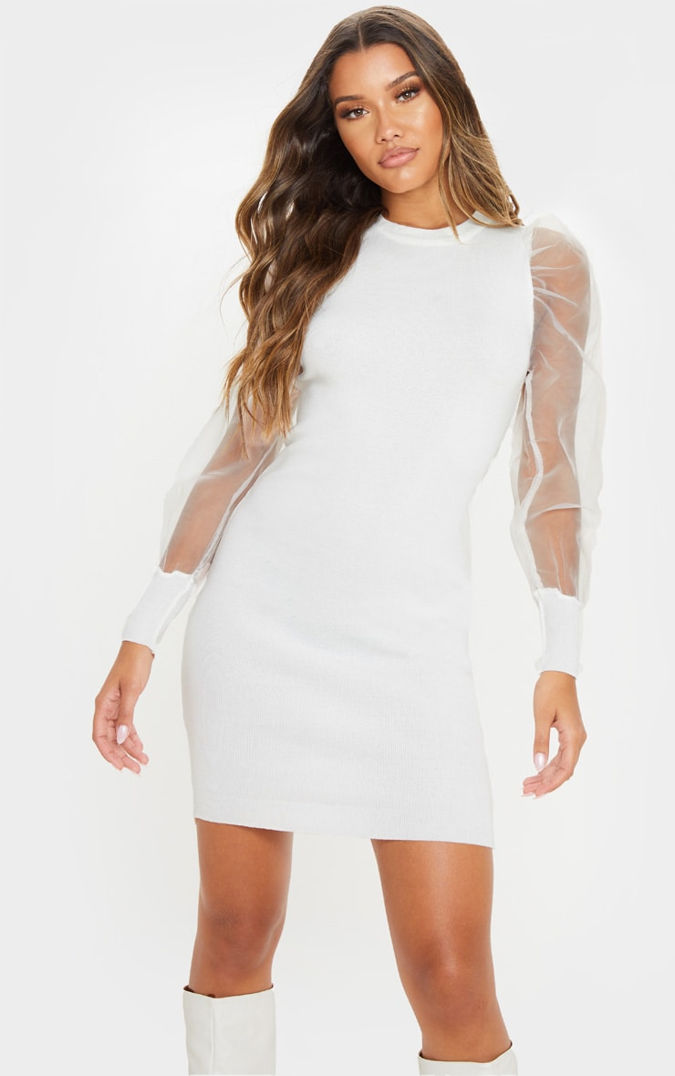 White Organza Puff Sleeve Dress 1