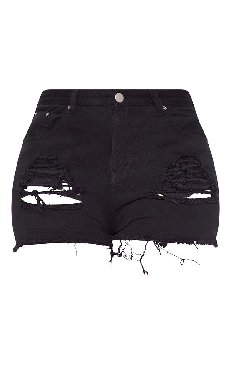 Plus Black Ripped Frayed Hem Denim Shorts 3