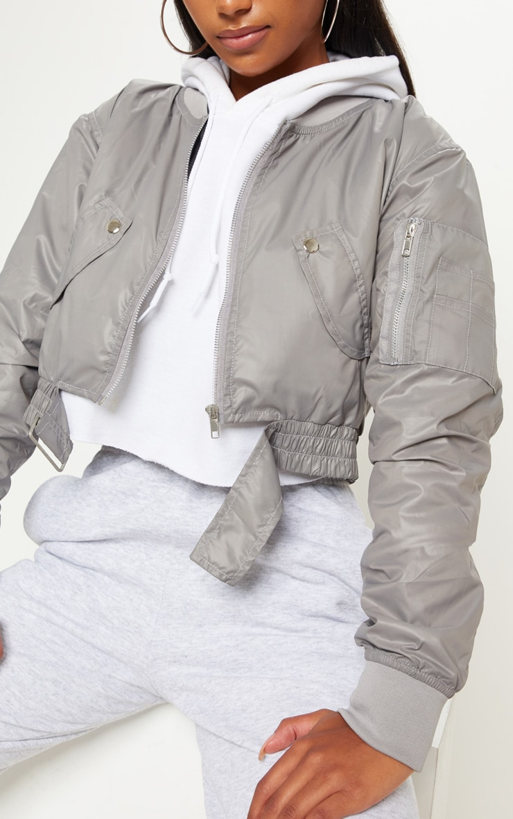 Grey Cropped Pocket Detail Bomber Jacket  5