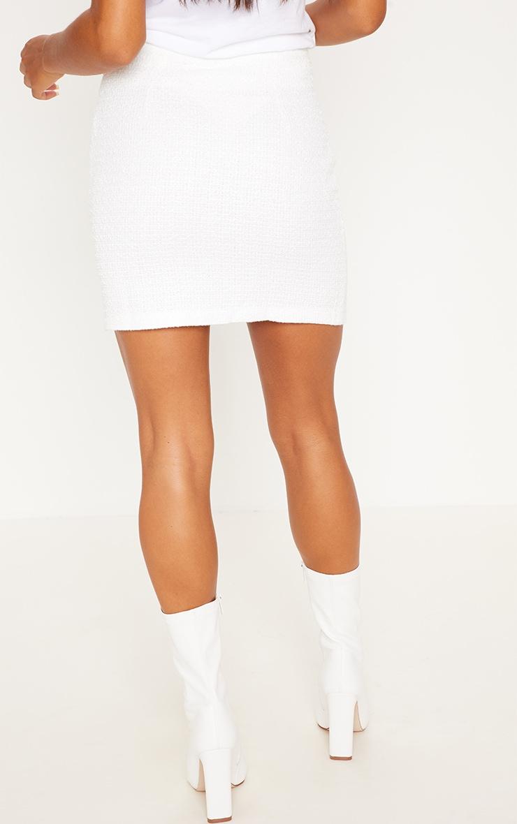 Cream Tweed Button Mini Skirt 4