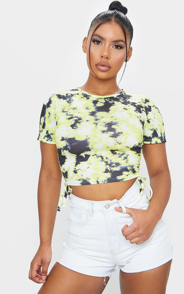 Lemon Acid Wash Ruched Side Crop T Shirt 1